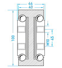 Teschnische Zeichnung Vollauszug MX-DTP 100 - Miluxor Schienen GmbH