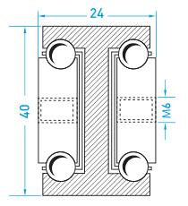Teschnische Zeichnung Vollauszug MX-DTP 40 - Teleskopschienen Schwerlast Miluxor