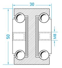 Teschnische Zeichnung Vollauszug MX-DTP 50 - Teleskopschienen Schwerlast Miluxor