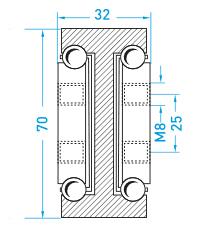 Teschnische Zeichnung Vollauszug MX-DTP 70 - Schwerlastschienen vom deutschen Hersteller Miluxor