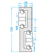 Teschnische Zeichnung Vollauszug MX-S 100 - Schwerlastschienen für viele Branchen