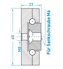 Teschnische Zeichnung Schlitten MX-ST 60 - Miluxor Schienen GmbH